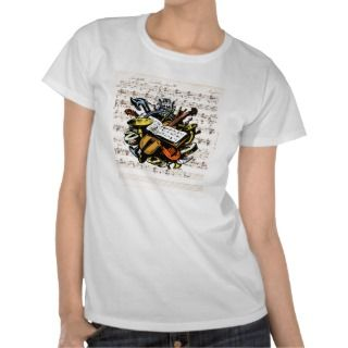 Musical Instruments Rossini Sheet Music Background T shirts