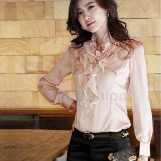 Elegant Bluse Satin Shirt Damenbluse Ruffle Hemd Langarm Volant Tops