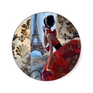 Eiffel Tower, Red Dress, Lets Go Round Sticker
