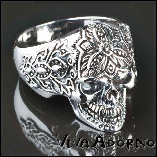 Silber Ring 925 Totenkopf Skull Tattoo Blumen Biker SR15