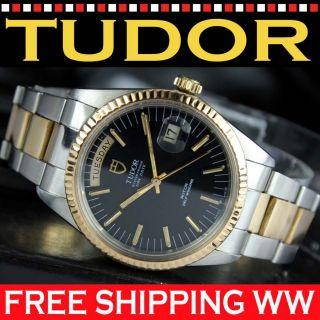 TUDOR Prince Automatik Date Day SS/18K Watch Uhr JUMBO