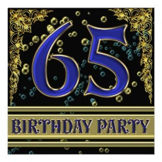 and Gold 65th Birthday party Personalized Announcement