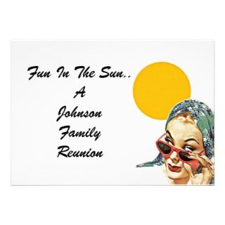 Vintage Family Reunion Summer Sun Lady Invitation