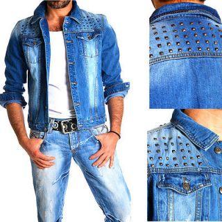 Japan Club JeansJacke Nieten Jeans Herren Biker Jacke Star Style XS S