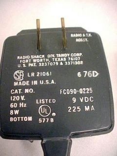 POWER ADAPTER FOR RADIO SHACK SCOREBOARD & OTHERS 9 VOLTS AC209