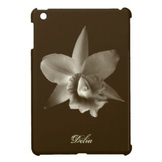 Orchid flower lover floral sepia brown custom name iPad mini cases