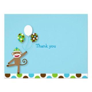Sock Monkey Birthday Thank You Note Cards Custom Invitations