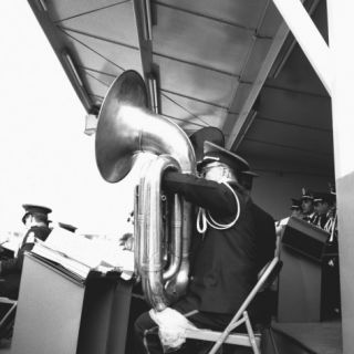 Tuba Player in Military Band Photographic Print by George Marks