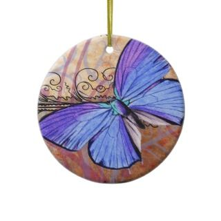 Purple Butterfly Vintage Collage Collectible Christmas Ornaments