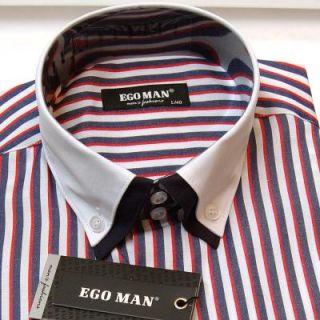 EGO MAN Hemd BODY FIT Langarm weißer Kragen (2012 148 Marine)