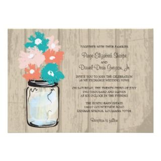 Rustic Wood Mason Jar and Gerber Daisies Wedding Invites