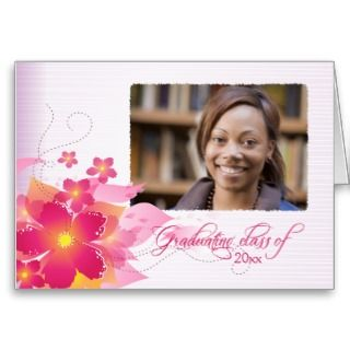 Pink flowers photo graduation party announcement card