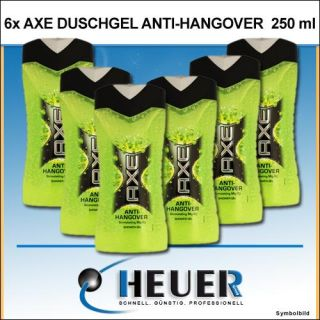 6x AXE Shower Gel 250 ml Anti Hangover Duschgel von Axe Showergel