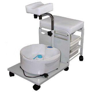 Rolbarer Fußpflegeschemel mit Sprudelbecken sowie höhenverstellbarer