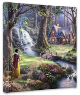 Snow White Discovers the Cottage (Wrapped Canvas) Stretched Canvas Print by Thomas Kinkade