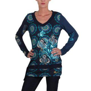 Desigual Damen Shirt/Tunika langarm D 258 1 Blau Gr. 40/L