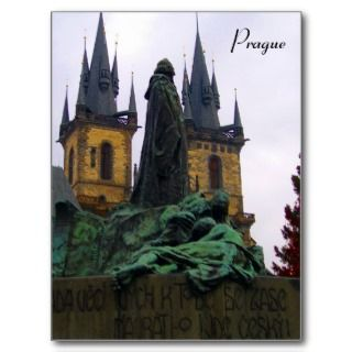 prague statue postcards