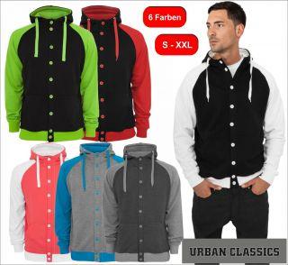 Urban Classics Light Fleece Button Hoodies Hoody Herren Kapuzenjacke