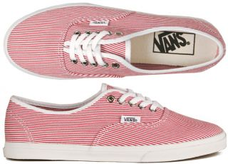 Vans Schuhe Authentic Lo Pro woven stripe red/white rot/weiß