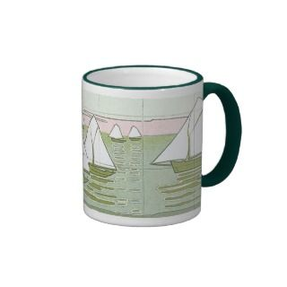 Vintage Sailboat Tile Art Coffee Mug