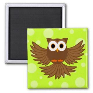 Cute Flying Night Owl Cartoon Magnet