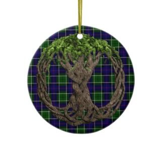 Clan Leslie Tartan And Celtic Tree Of Life Christmas Ornaments