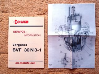 MZ ETZ 251 301 Service Info Handbuch Anleitung Vergaser BVF 30N3 1 NEU