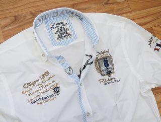 Camp David Polo Herren Hemd Langarm Trophy Cote d Azur Clipper Weiss