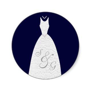 Bridal Shower Plum Purple Wedding Dress Round Stickers
