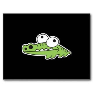 goofy baby alligator post card