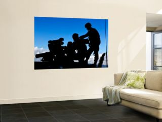 Silhouette of Soldiers Operating a Bgm 71 Tow Guided Missile System Prints by Stocktrek Images