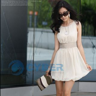 Women Mini Dress Empire Waist Chiffon Lined Tunic Korea