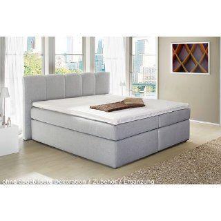 Boxspringbett aus Webstoff grau, Liegefläche 180 x 200 cm, inkl