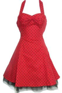 Red Black Polka Dot Rockabilly Pin Up Tattoo Mini Dress Hearts & Roses