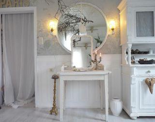 Shabby Waschtisch Konsole Tisch Vintage weiß mit Spiegel uralt Belle