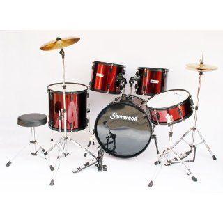 Komplettes Drum Set. Schlagzeug * Farbe rot metallic