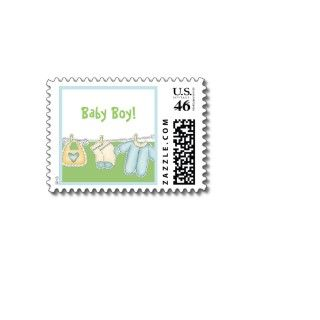 New Baby Boy Birth Announcement Stamps. New Baby Boy Stamps Blue