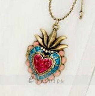 Halskette Herz Anhänger Retro Strass Damen Lange Kette necklace NEU