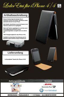 Exklusiv für iPhone 4S/ 4G /Leder Tasche/ Etui/ Case in Schwarz