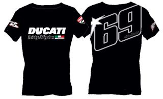 DUCATI Corse NICKY HAYDEN DAMEN T Shirt Moto GP Kentucky Kid schwarz