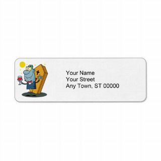 silly halloween vampire cartoon character return address labels