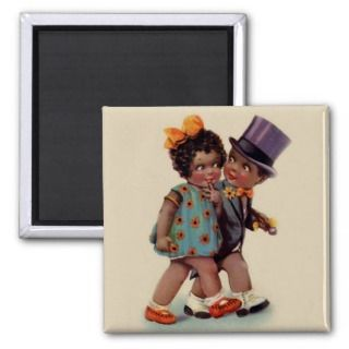 cute black americana couple fridge magnets
