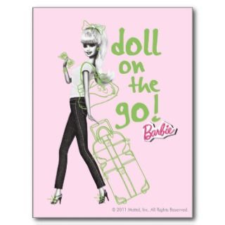 Barbie Doll on the Go Green Doodles Post Card