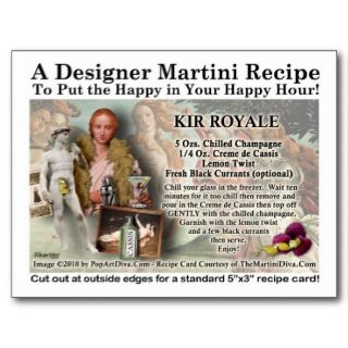 Kir Royale Martini Recipe Postcard