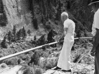 82 Year Old Tightrope Walker Ivy Baldwin Preparing to Walk over South Boulder Canyon Premium Photographic Print