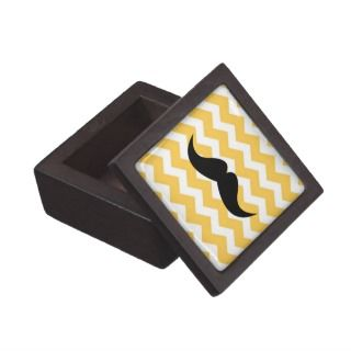 Yellow chevron zigzag pattern trinket mustache