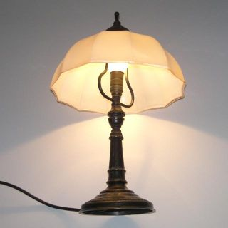 alte Tischlampe Berliner Messing Lampe Jugendstil Art Deco Glas lamp