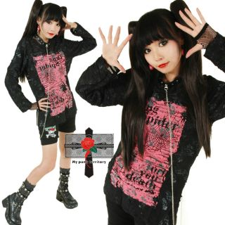 Unisex Hell Punk Broken 2 Rock Fishent Visual Kei RED INK + Choker Top