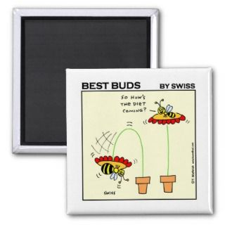 Funny Dieting Bee Cartoon Gardening Fridge Fridge Magnets