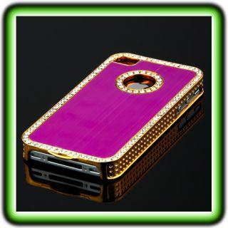 IPHONE 4 4S LUXUS STRASS CASE PINK GOLD Chrom Bumper Schutz Huelle
